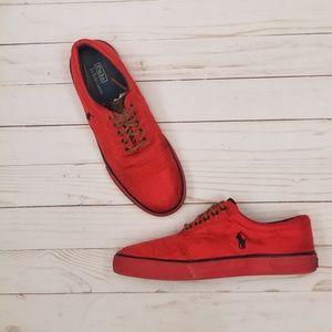 Red Polo Ralph Lauren Deck Sneakers